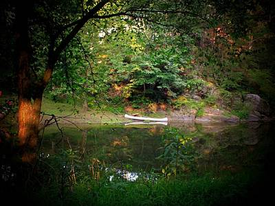 Canoe On Cacapon Art Print by Michael L Kimble