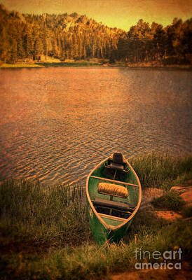 Canoe On Lake Print by Jill Battaglia