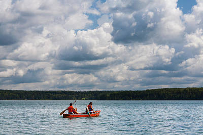 Canoeing In Riding Mountain National Park Art Print