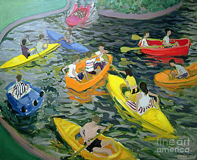 Canoes Painting - Canoes by Andrew Macara