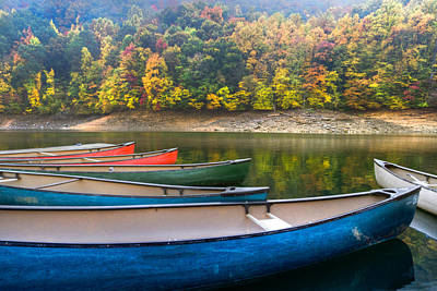 Canoes At Fontana Art Print by Debra and Dave Vanderlaan