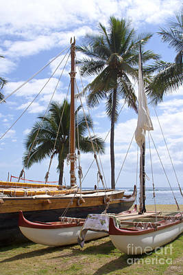 Photograph - Canoes At Hui O Waa Lahaina Maui Hawaii by Sharon Mau