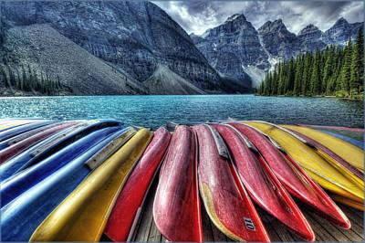 Canoe Digital Art - Canoes by Diane Dugas