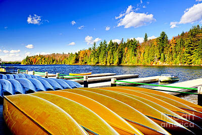 Canoes On Autumn Lake Art Print by Elena Elisseeva