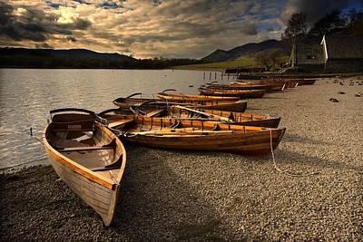 Canoes On The Shore, Keswick, Cumbria Print by John Short