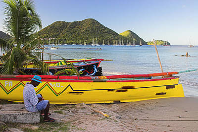 Saint Lucia Photograph - Canoes- St Lucia by Chester Williams