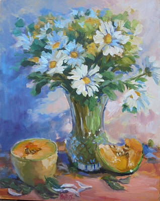 Cantaloupe And Daisies Original by Liz Maness