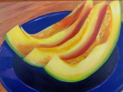 Cantaloupes On A Blue Tin Plate Original by Charlene Cloutier