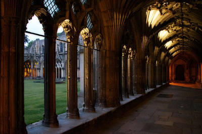 Photograph - Canterbury Cathedral Cloister At Dusk by Lisa Knechtel