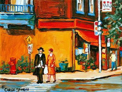 Street Scene Painting - Cantors Bakery Montreal Memories Vintage City Scenes by Carole Spandau