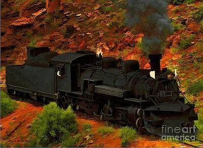 Mixed Media - Canyon Train by Jerry L Barrett
