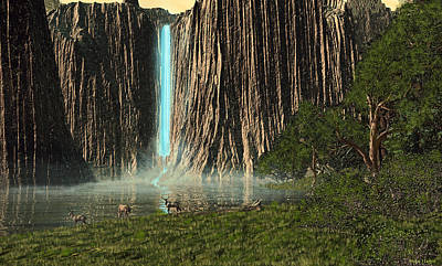 Digital Art - Canyon Waterfall  by Walter Colvin