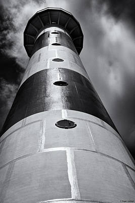 Cape Canaveral Lighthouse Black And White Print by Roger Wedegis