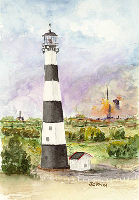 Cape Florida Lighthouse Painting - Cape Canaveral Lighthouse by JC Prida
