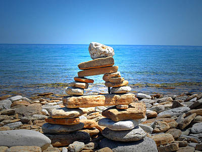 Cape Look Out Photograph - Cape Crockers Inukshuk by Cyryn Fyrcyd