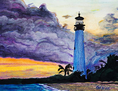 Cape Florida Lighthouse Painting - Cape Florida Lighthouse by Roger Wedegis