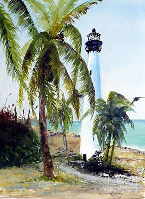 Painting - Cape Florida Lighthouse by Sibby S