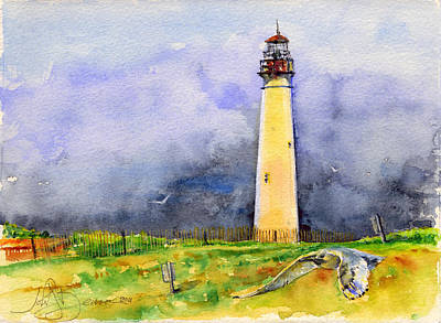 Cape May Lighthouse Sunrise Original by John D Benson