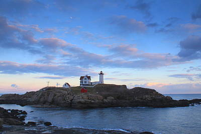 Cape Neddick Nubble Lighthouse Twilight Art Print by John Burk