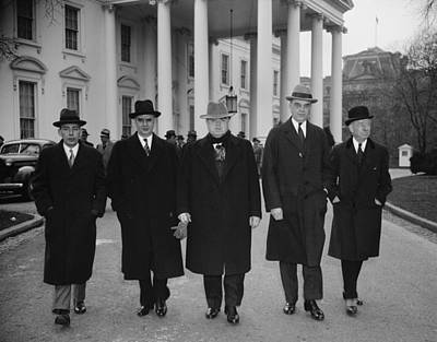 Capital And Labor Leaders Leaving Art Print by Everett