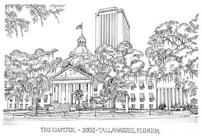 Confederate Flag Drawing - Capitol 2002 Tallahassee by Audrey Peaty