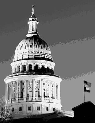 Heart Of Texas Digital Art - Capitol Dome Bw10 by Scott Kelley