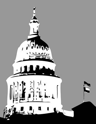 Heart Of Texas Digital Art - Capitol Dome Bw3 by Scott Kelley