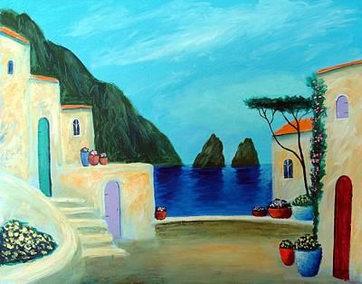 Art Print featuring the painting Capri Villa by Larry Cirigliano