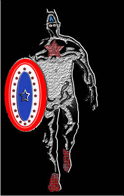 Captain America From The Black Wall Art Print by Robert Margetts