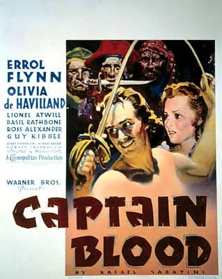 Postv Photograph - Captain Blood, Errol Flynn, Olivia De by Everett
