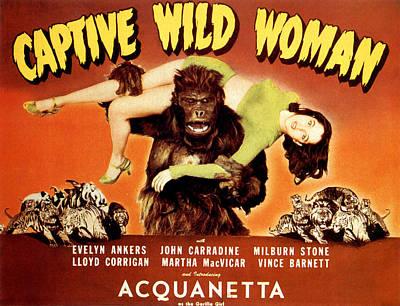 1940s Poster Art Photograph - Captive Wild Woman, Ray Crash Corrigan by Everett