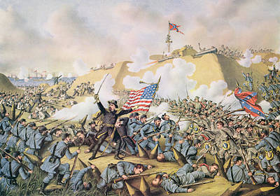 Fall Of River Painting - Capture Of Fort Fisher 15th January 1865 by American School