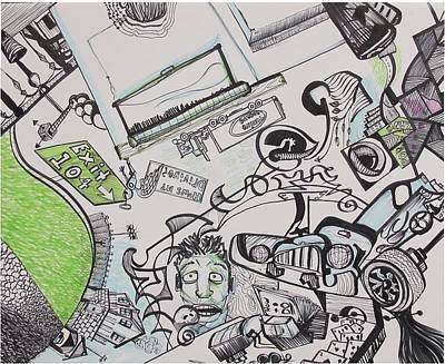 Drawing - Car Crash by Casey P