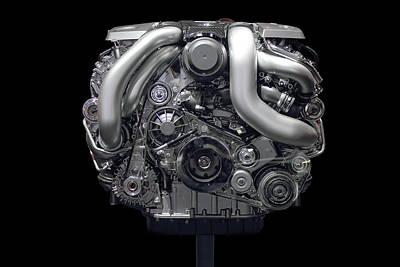 Photograph - Car Engine Chrome Front by Radoslav Nedelchev