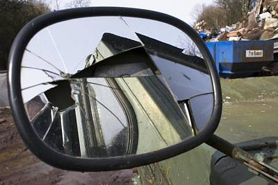 Wing Mirror Photograph - Car In A Scrapyard by Mark Williamson