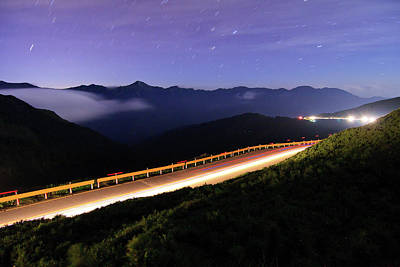 Long Tailed Photograph - Car Light Trails And Star Trails At Night by Samyaoo