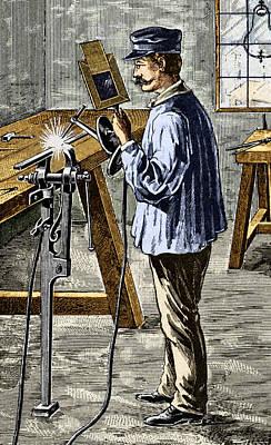 Arc Welder Photograph - Carbon Arc Welding, 1900 by Sheila Terry