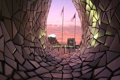 Sunset Photograph - Cardiff Bay Through The Arch by Geraint Rowland