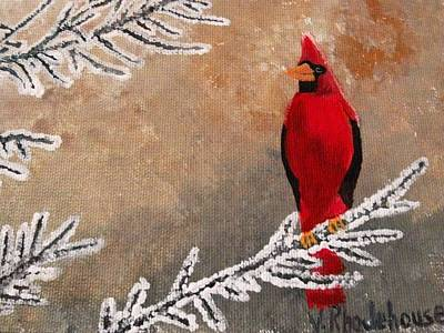 Painting - Cardinal Bird In Winter by Victoria Rhodehouse