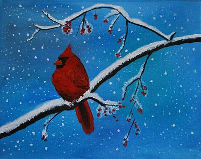Painting - Cardinal Christmas by Leslie Allen