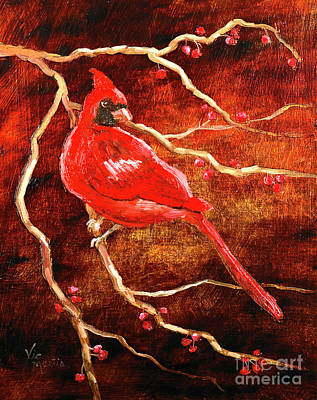 Painting - Cardinal Sitting Pretty by Vic  Mastis