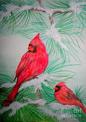 Painting - Cardinals by Christina A Pacillo