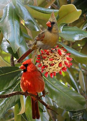 Digital Art - Cardinals In Magnolia Tree by IM Spadecaller