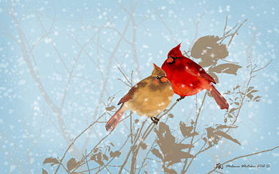 Cardinals In The Snow Art Print by Melanie Whitaker