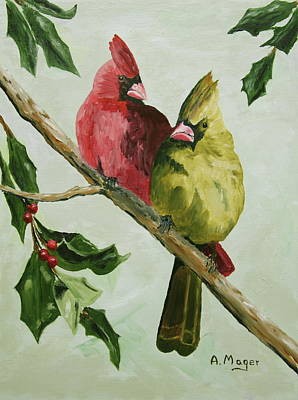 Painting - Cardinals With Holly by Alan Mager