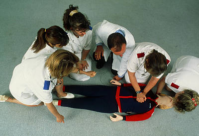 Mannikins Photograph - Cardiopulmonary Resuscitation First Aid Training by Mauro Fermariello