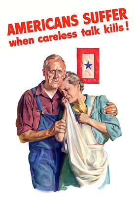 Careless Talk Kills -- Ww2 Propaganda Art Print