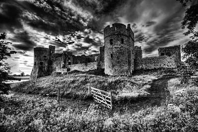 Photograph - Carew Castle Pembrokeshire 4 Mono by Steve Purnell