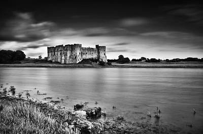 Photograph - Carew Castle Pembrokeshire Long Exposure Mono by Steve Purnell