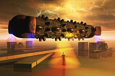Beam Digital Art - Cargo Ship by Carol and Mike Werner